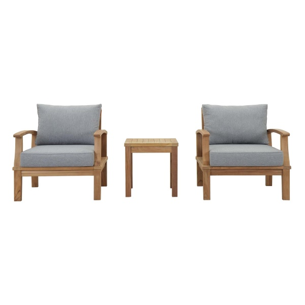 Marina 3 Piece Outdoor Patio Teak Set Natural Gray Arm Chairs
