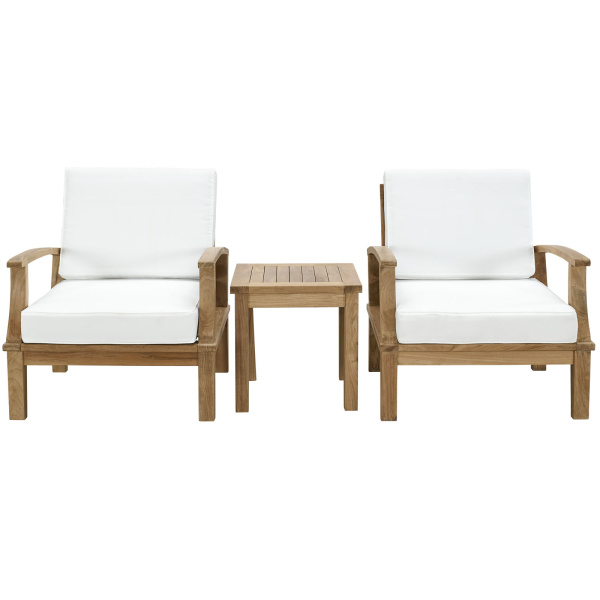 Marina 3 Piece Outdoor Patio Teak Set Arm Chairs
