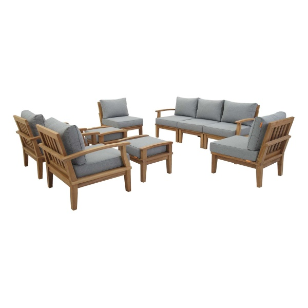 Marina 9 Piece Outdoor Patio Teak Set Natural Gray Arm Chairs