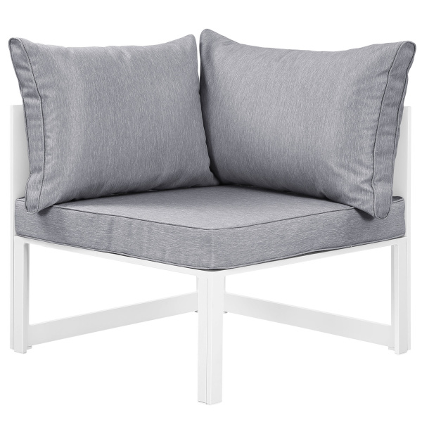 Fortuna Corner Outdoor Patio Armchair White Gray