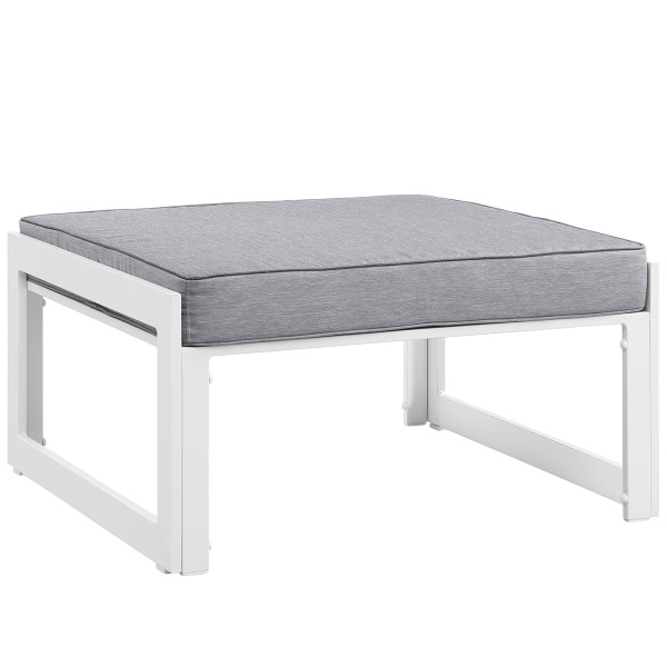 Fortuna Outdoor Patio Ottoman White Gray
