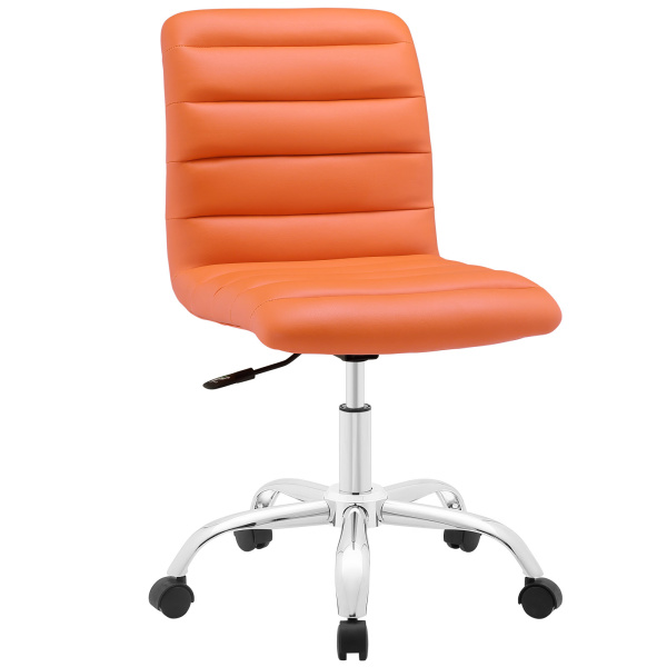 Ripple Armless Mid Back Vinyl Office Chair Orange