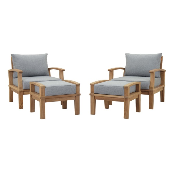 EEI-1537-NAT-GRY-SET Marina 4 Piece Outdoor Patio Teak Set Natural Gray Arm Chairs