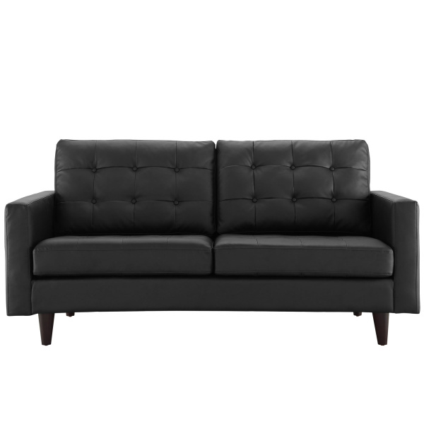 Empress Bonded Leather Loveseat Black