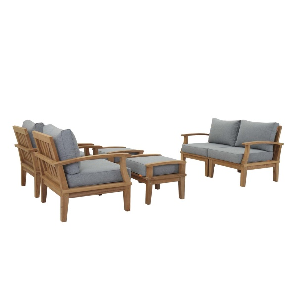 Marina 6 Piece Outdoor Patio Teak Set Natural Arm Chairs