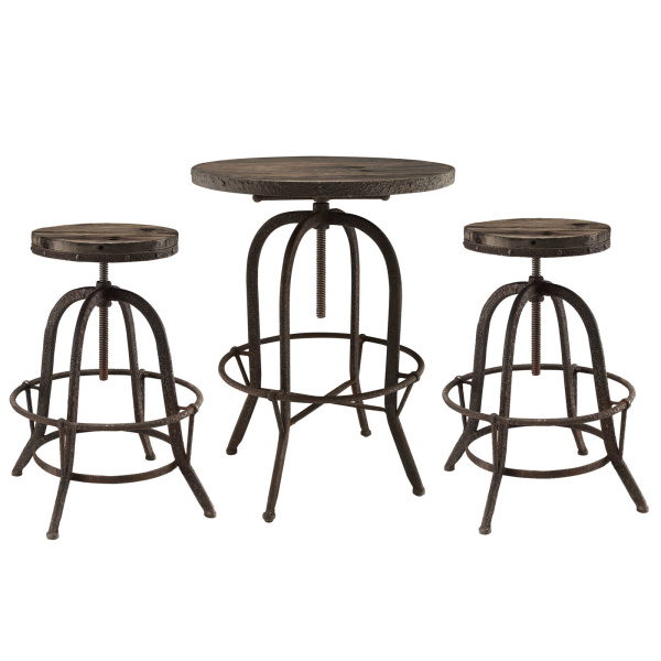 EEI-1602-BRN-SET Gather 3 Piece Dining Set Brown