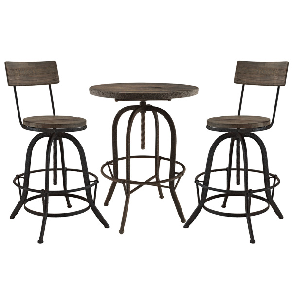 EEI-1604-BRN-SET Gather 3 Piece Dining Set Brown