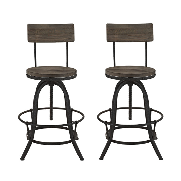 EEI-1605-BRN-SET Procure Bar Stool Set of 2 Brown