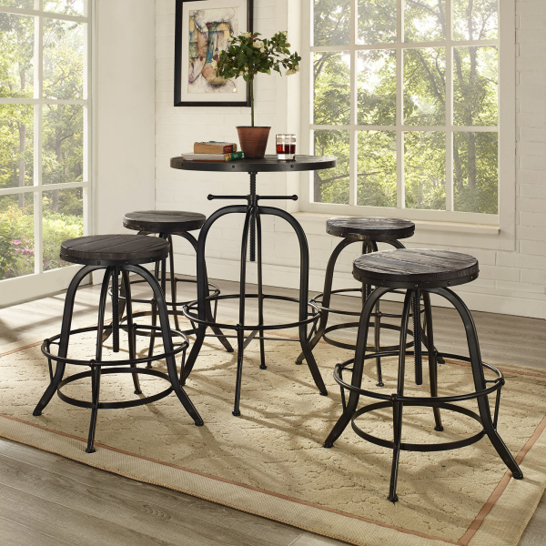 Gather 5 Piece Dining Set Black