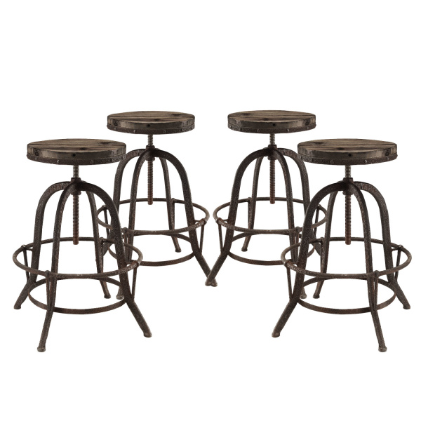 EEI-1607-BRN-SET Collect Bar Stool Set of 4 Brown