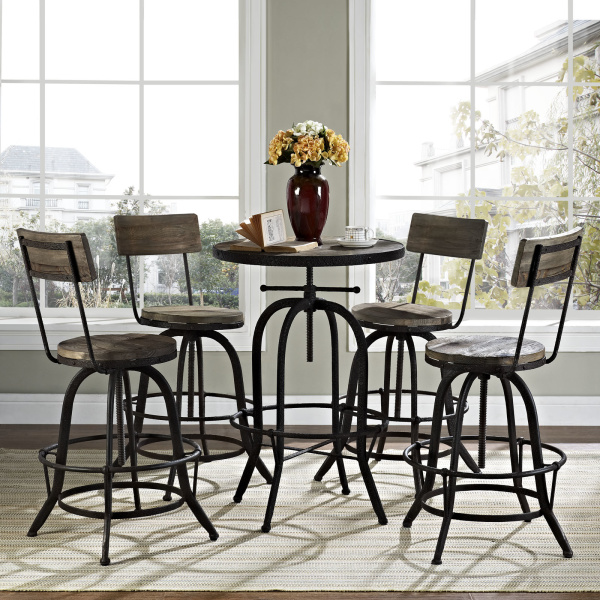 Gather 5 Piece Dining Set Brown