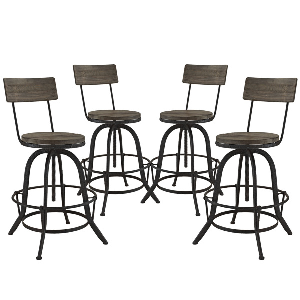 EEI-1609-BRN-SET Procure Bar Stool Set of 4 Brown