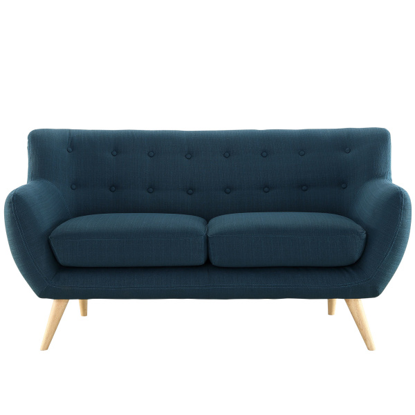 Remark Upholstered Fabric Loveseat Azure