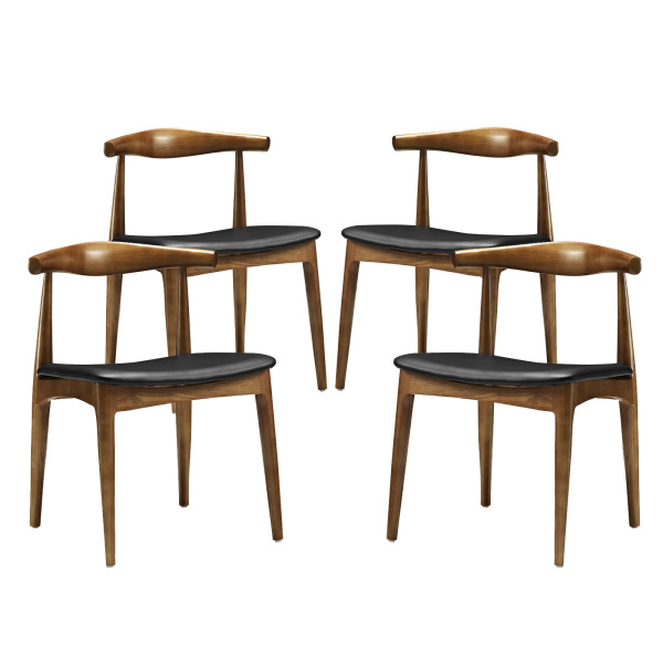 Tracy Dining Chairs Wood Set of 4 Black