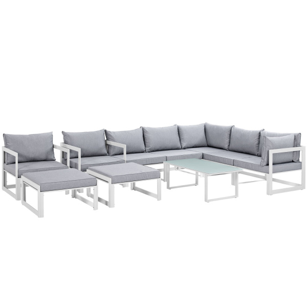 Fortuna 10 Piece Outdoor Patio Sectional Sofa Set Arm Chairs