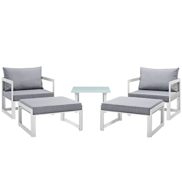 Fortuna 5 Piece Outdoor Patio Sectional Sofa Set Arm Chairs