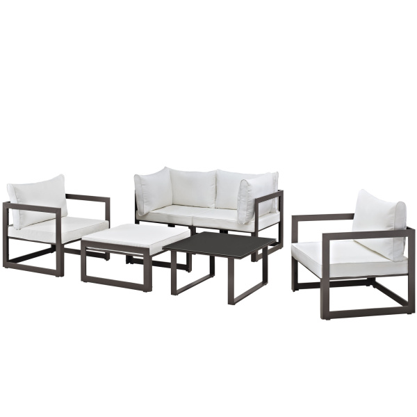 Fortuna 6 Piece Outdoor Patio Sectional Sofa Set Arm Chairs