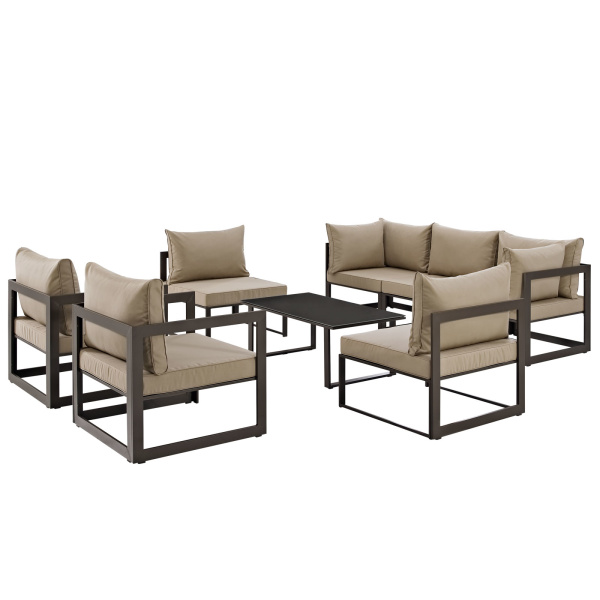 Fortuna 8 Piece Outdoor Patio Sectional Sofa Set Brown Arm Chairs