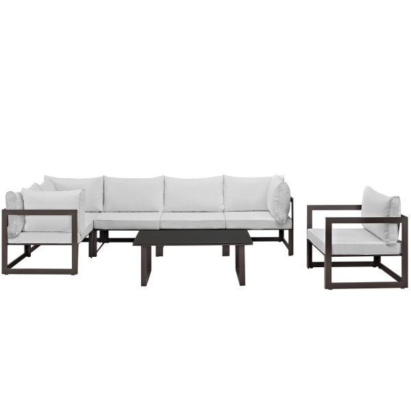 Fortuna 7 Piece Outdoor Patio Sectional Sofa Set Arm Chairs