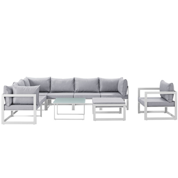 Fortuna 9 Piece Outdoor Patio Sectional Sofa Set Arm Chairs