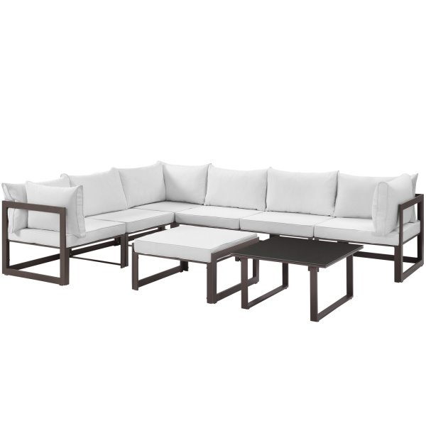 Fortuna 8 Piece Outdoor Patio Sectional Sofa Set Arm Chairs