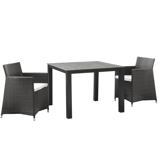 Junction 3 Piece Outdoor Patio Wicker Dining Set Arm Chairs