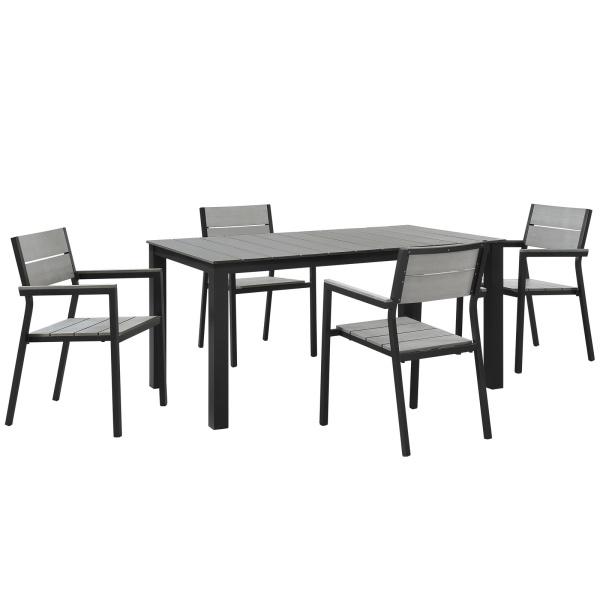 Maine 5 Piece Outdoor Patio Dining Set Brown Gray Arm Chairs