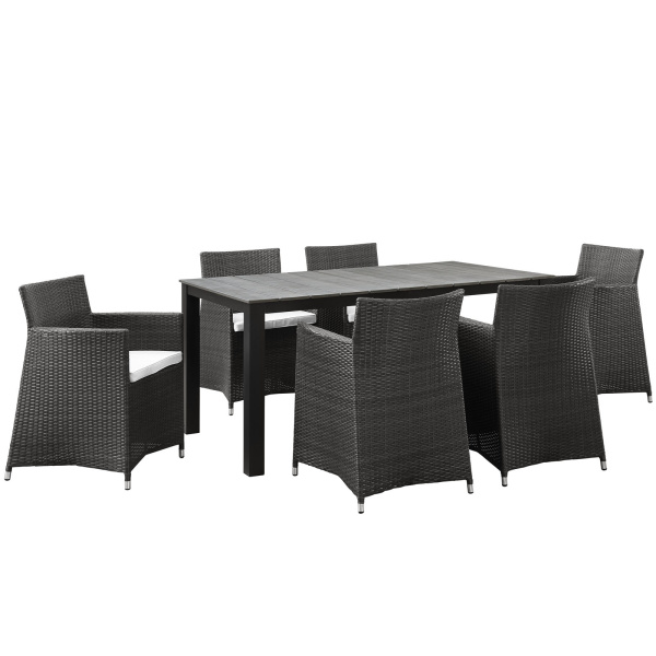 EEI-1748-BRN-WHI-SET Junction 7 Piece Outdoor Patio Dining Set Arm Chairs