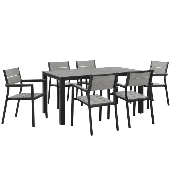 Maine 7 Piece Outdoor Patio Dining Set Brown Gray Arm Chairs