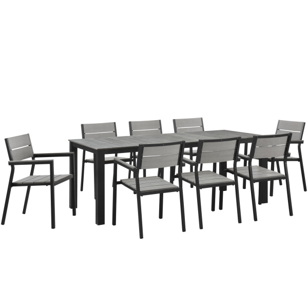 EEI-1753-BRN-GRY-SET Maine 9 Piece Outdoor Patio Dining Set Arm Chairs