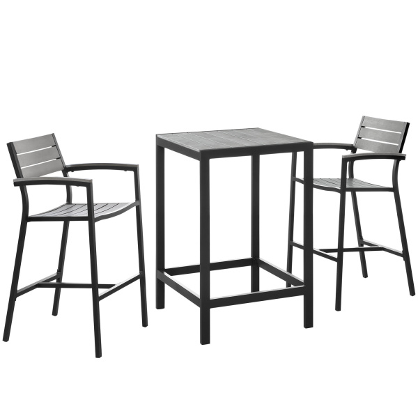 EEI-1754-BRN-GRY-SET Maine 3 Piece Outdoor Patio Dining Set Brown Gray Arm Chairs