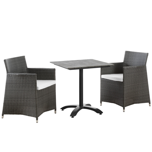 Junction 3 Piece Outdoor Patio Dining Set Brown White Arm Chairs