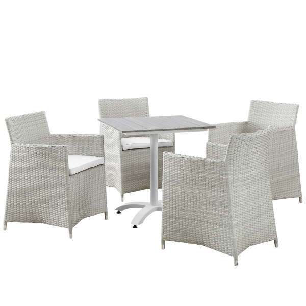 EEI-1760-GRY-WHI-SET Junction 5 Piece Outdoor Patio Dining Set Gray White Arm Chairs