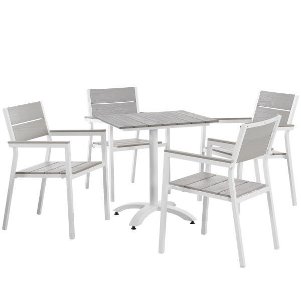 Maine 5 Piece Outdoor Patio Dining Set White Light Gray Arm Chairs
