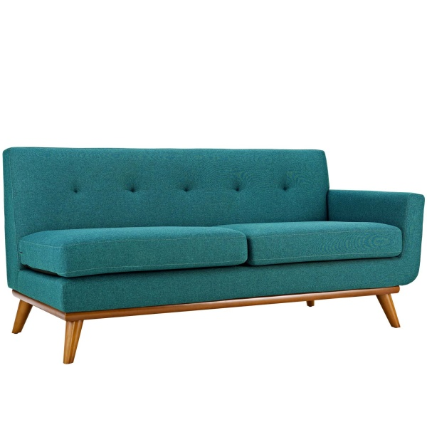Engage Right-Arm Upholstered Fabric Loveseat Teal