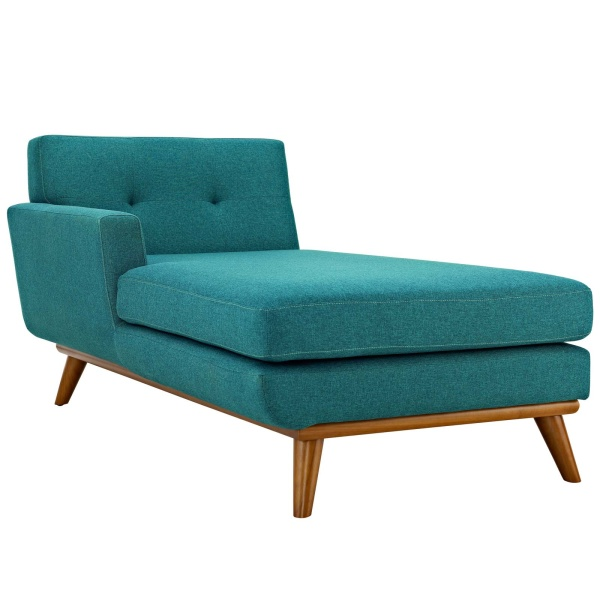 Engage Left-Facing Upholstered Fabric Chaise Teal