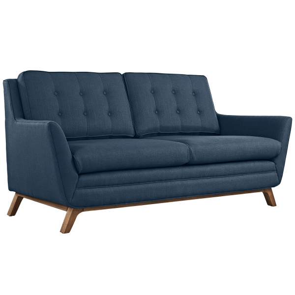 Beguile Upholstered Fabric Loveseat Azure