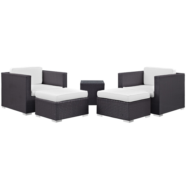 Convene 5 Piece Outdoor Patio Sectional Set Arm Chairs
