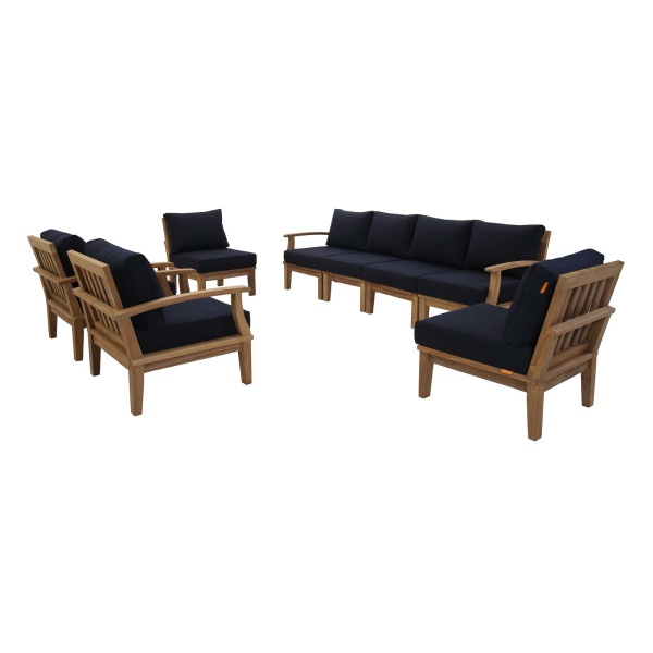Marina 8 Piece Outdoor Patio Teak Set Navy Arm Chairs