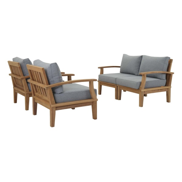 Marina 4 Piece Outdoor Patio Teak Set Natural Gray Arm Chairs