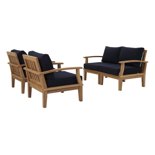 Marina 4 Piece Outdoor Patio Teak Set Natural Navy Arm Chairs