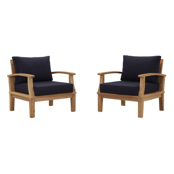 Marina 2 Piece Outdoor Patio Teak Set Navy Arm Chairs