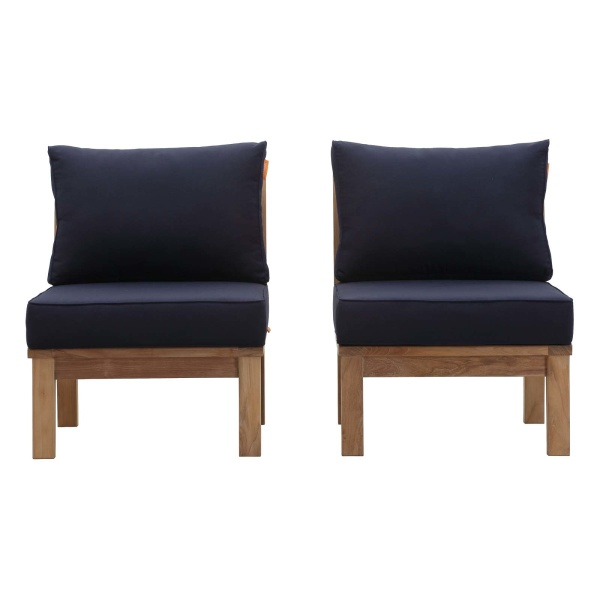 Marina 2 Piece Outdoor Patio Teak Set Navy