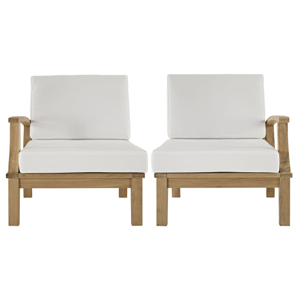 Marina 2 Piece Outdoor Patio Teak Set White Arm Chairs