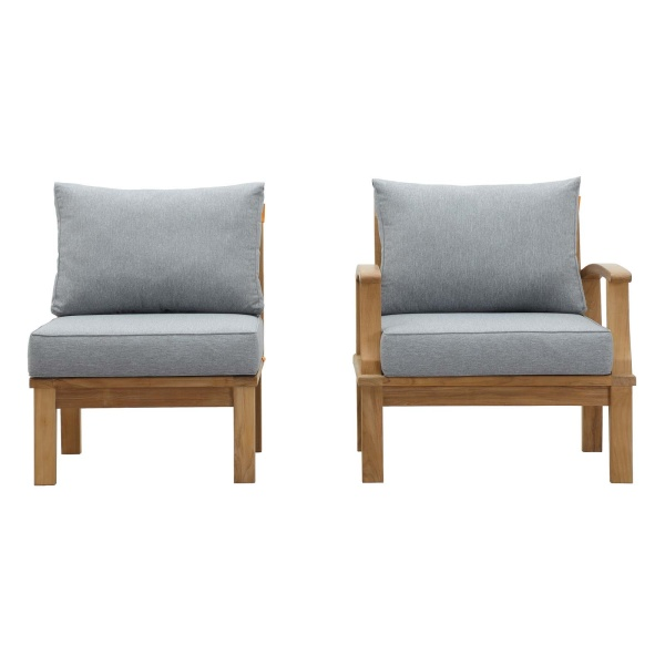 Marina 2 Piece Outdoor Patio Teak Set Natural Gray Arm Chair