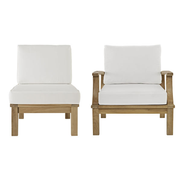 Marina 2 Piece Outdoor Patio Teak Set White Arm Chair