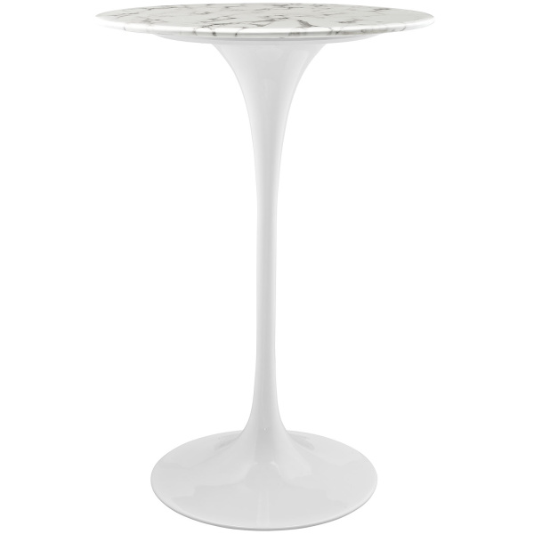 "EEI-1827-WHI Lippa 28"" Round Artificial Marble Bar Table White"