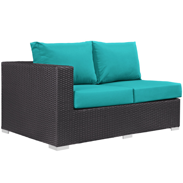 Convene Outdoor Patio Left Arm Loveseat Turquoise