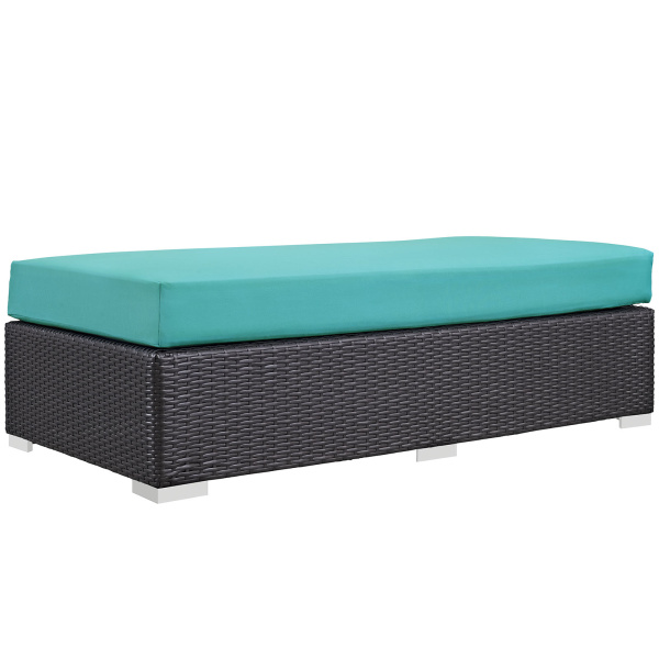 Convene Outdoor Patio Fabric Rectangle Ottoman