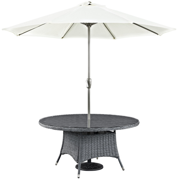 "Summon 59"" Round Outdoor Patio Dining Table Gray"